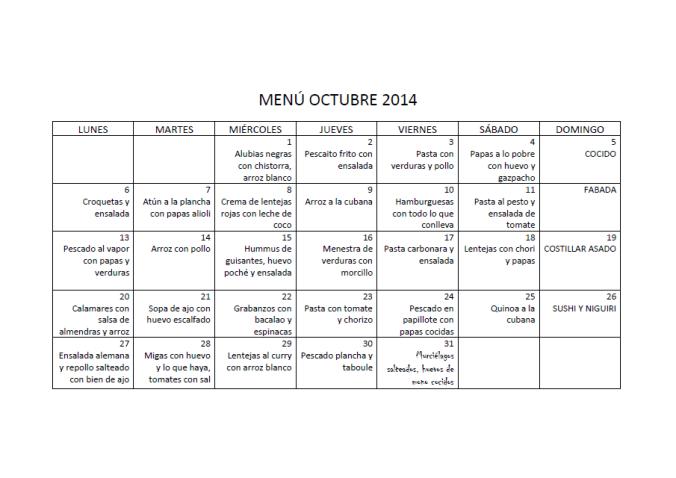 Menú octubre 2014