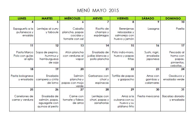 Menú mayo 2015