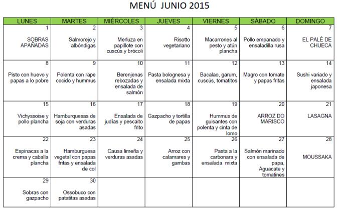 Menú junio 2015