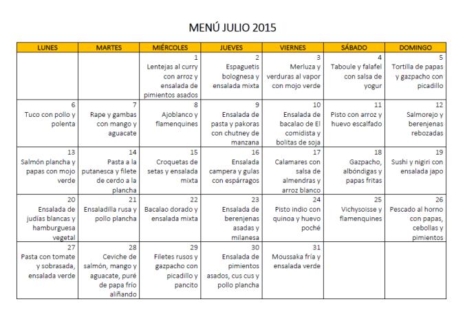 MENÚ JULIO 2015