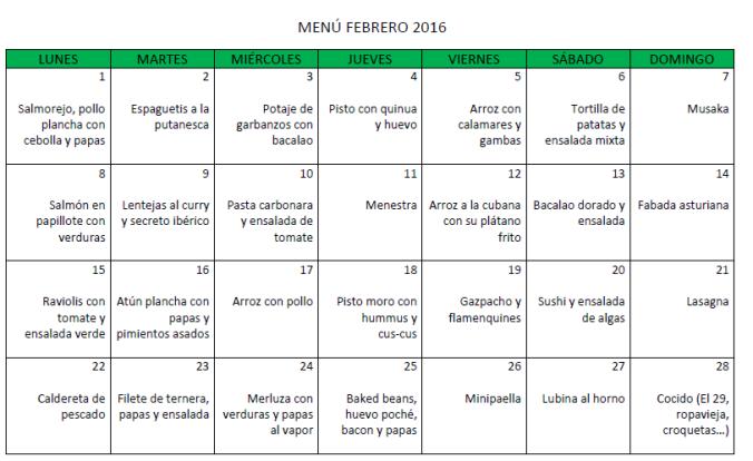 Menú febrero 2016