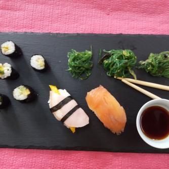 Sushi, presentación y foto de Tania